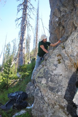 Joey Cleveland (B.S. 2014) conducting field work in Yellowstone as an undergraduate field assistant.