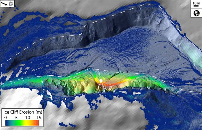 Aerial view of ice cliff erosion since 2001.