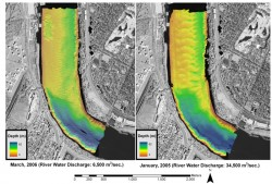 Comparison of distribution of river bottom dunes under low (left) and high (right) discharge scenarios. Image based on multibeam bathymetry data from the lower Mississippi River at Audobon Park, New Orleans. Courtesy of Mead Allison and JSG doctoral student Jeffrey Nittrouer.