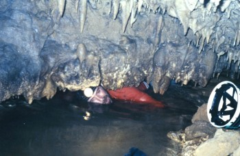 Jay Banner in Harrison's Cave, Barbados