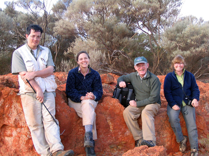 Chris Bell and colleagues in in the Goldfields District of Western Australia (L to R): Bell, Marci Hollenshead (Northern Arizona University), Jim Mead and Sandy Swift (East Tennesee State University).