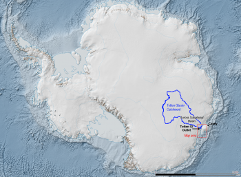 The Totten Glacier catchment (in blue) is a collection basin for ice and snow that flows through the glacier.