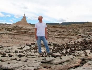 Chris Kirk,a UT Austin anthropology professor, in the field in West Texas. Chris Kirk