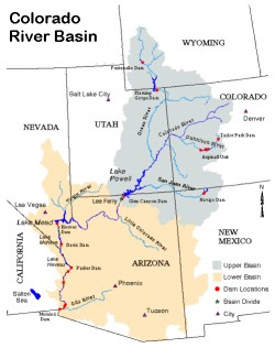 The Colorado River Basin is divided into upper and lower portions. It provides water to the Colorado River, a water source that serves 40 million people over seven states in the southwestern United States. Colorado River Commission of Nevada.
