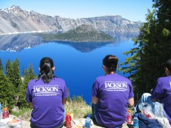 GeoFORCE students eat lunch at Oregon's Crater Lake in 2007.