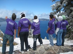 Students at Crater Lake in Oregon, a collapsed volcano