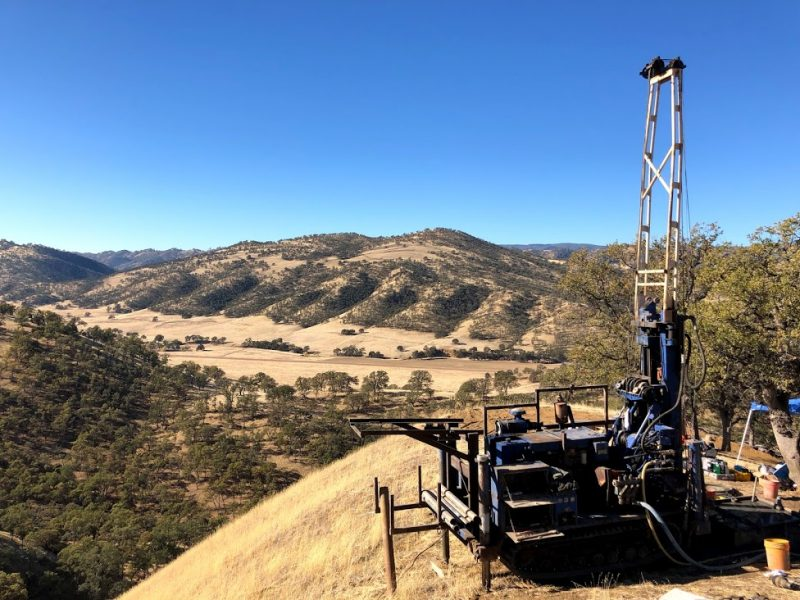 A view of the borehole drilling rig from one of the hillslope ridgetops.