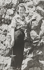 Jeanne Allen Ferrin working in the field circa 1949