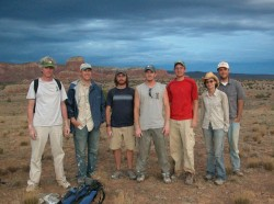 The field crew from 2006 (from left): Kevin Padian, Sterling Nesbitt, Alan Turner, Nathan Smith, Randall Irmis, Amy Balanoff, and Gabe Bever