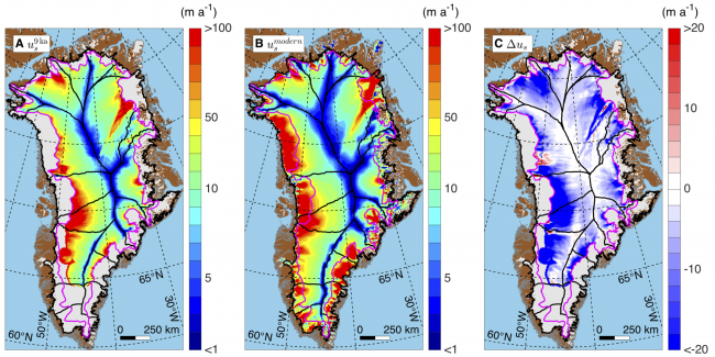 Greenland ice sheet paleo-velocity map