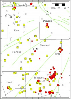 Map of earthquakes and injection wells in Barnett Shale