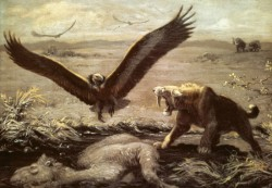 A Charles Knight painting of a Smilodon near a tar pit.