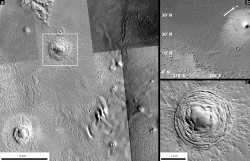 A depression in the Galaxias Fossae region of Mars viewed from multiple perspectives. New research suggests that the depression was formed by an asteroid impact.