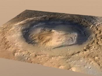 1.Gale Crater, the landing spot of NASA's Curiosity Mars rover, has a three-mile-high mound at its center called Mount Sharp. The circle indicates the rover's landing place. The blue line is its path. NASA/JPL.