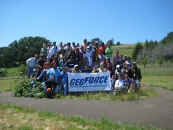 The GeoFORCE contingent poses atop a glacial erratic, a boulder transported and deposited by a glacier