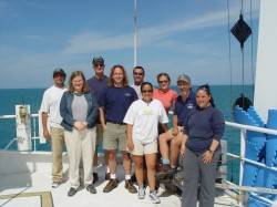 Sean Gulick (fourth from left) with crew members during seismic data collection (2005).