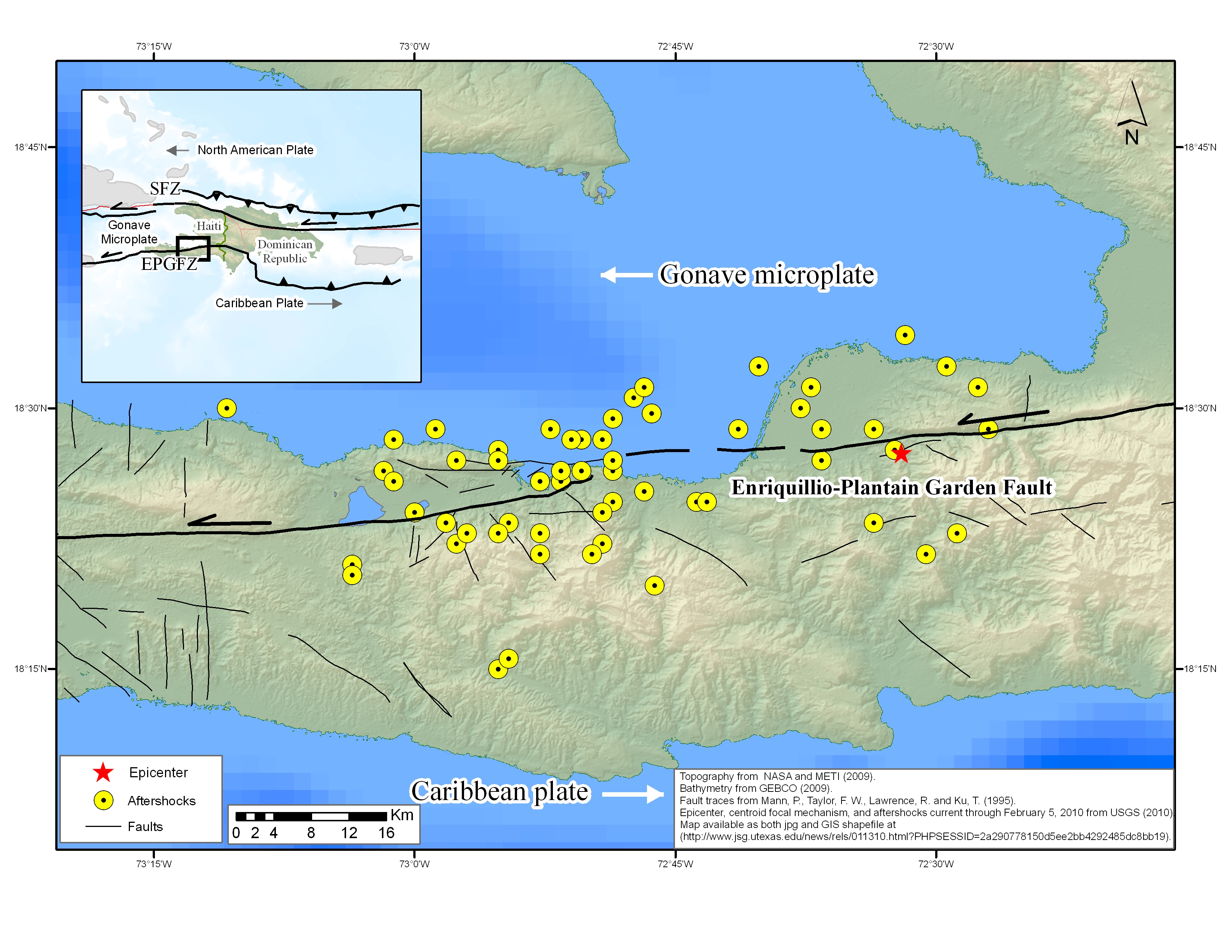Seismology of haiti earthquake jackson school of geosciences the shaded relief map showing faults as well as epicenters of the main haiti earthquake on gumiabroncs Image collections