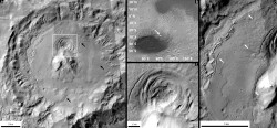 A depression located inside a crater on the edge of the Hellas basin region of Mars. New research suggests that the depression was formed by volcanic activity beneath an ice sheet—an environment that could be suitable for microbial life.