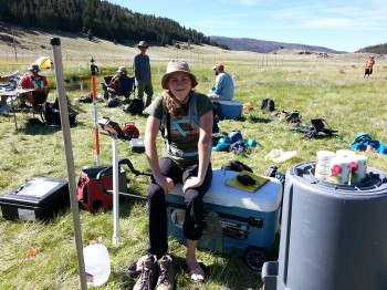 Maggie Flannery taking a break at the well field.