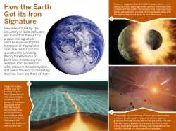 An infographic describing three theories on how the Earth got its iron signature.Designed by Laura Martin/The University of Texas at Austin Jackson School of Geosciences. Images 1 and 2 from NASA/JPL-Caltech, Image 3 from X-Science, Earth from NASA/JPL.
