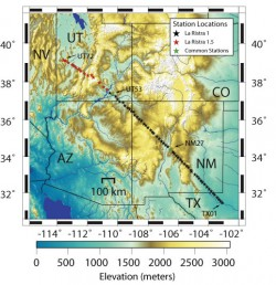 Map showing array of seismometers for LARISTRA 1.0 and 1.5.