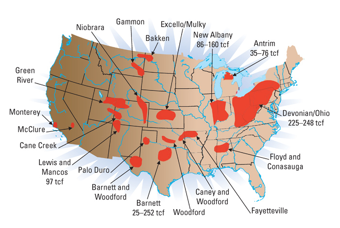 Major Shale Gas Basins In The United States With Total Resource Potential Of 500 To 1 000