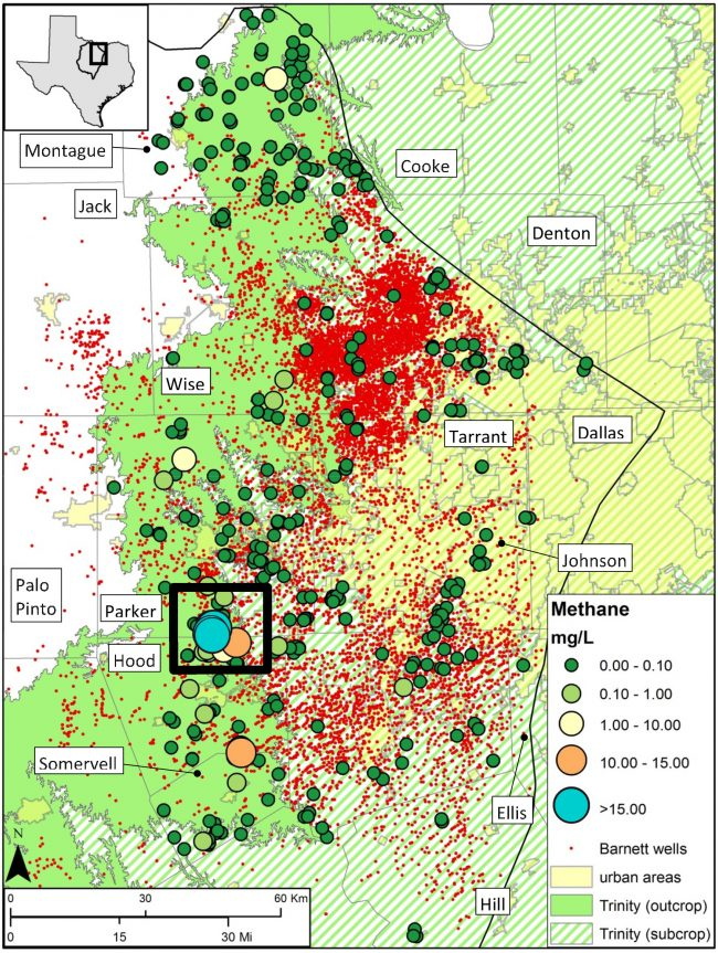 Distribution of dissolved methane across the Barnett Shale play. Each small red dot represents a Barnett Shale gas well. The other colored dots represent groundwater samples locations.The map includes 18,022 wells and 457 unique sample locations, with some overlapping at this scale. The key in the bottom right shows the concentration of methane, if any, found in each water sample. The black square surrounds a high methane area where researchers conducted in-depth analysis of groundwater samples. J.P. Nicot.