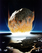 An artist's rendering of the moment when an enormous space rock struck the Yucatán peninsula at the end of the Cretaceous. Credit: Don Davis, NASA