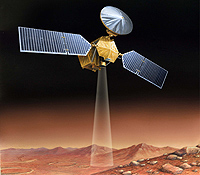 In August 2005, NASA launched the Mars Reconnaissance Orbiter (MRO), designed in part to probe beneath the surface for evidence of subsurface layering, water and ice. Credit: NASA.