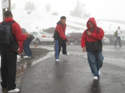 Students, not accustomed to seeing snow back home in Houston, had a snowball fight on Mount Hood