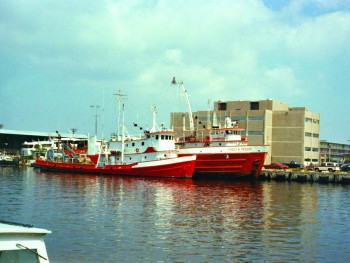 Former UTIG seismic research vessel the RV Fred H. Moore and the RV Ida Green.