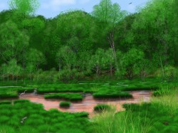 Artist's reconstruction of ancient hardwood forest in Pennsylvania