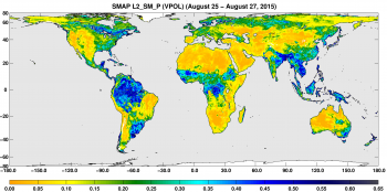 A three-day composite map of global surface soil moisture retrieved from the NASA satellite SMAP between Aug. 25-27, 2015. Dry areas appear yellow/orange, wet areas appear blue, white areas indicate snow, ice or frozen ground.