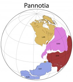 Reconstruction of Pannotia at 545 million years ago