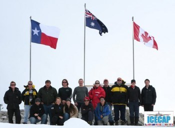 A group shot of the research team in Antarctica. Image: Gregory Ng