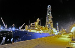 The JOIDES Resolution in port in Mobile, Alabama just before setting sail for an IODP expedition, spring 2005. Photo by William Crawford