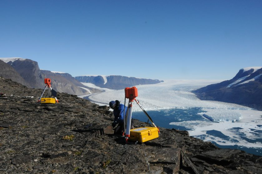 A photograph of Rink glacier in Greenland.