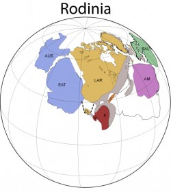 Reconstruction of the supercontinent Rodinia at 1000 million years ago