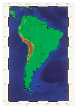 Map of South America, based on USGS data, shows elevations over 3 km in red.