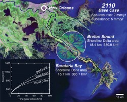 View of the lower Mississippi River delta below New Orleans, with predictions for new land. Credit: AGU/EOS