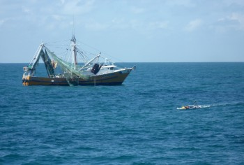 A Shrimp Boat Gets Close to Paravane