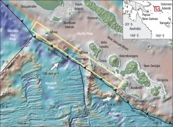 Plate tectonic setting and bathymetry of the western Solomon Islands. The yellow rectangle indicates the approximate rupture zone for the April 2007 earthquake. The 245 km long rupture crossed the triple junction where the Woodlark, Australian and Pacific Plates intersect.