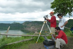 Bayani Cardenas does field work at Taal Volcano