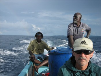 Fred Taylor on Boat in the Solomon Islands