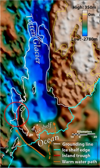 A map showing the previously-hidden landscape beneath Totten Glacier. Orange arrows indicate seafloor valleys deep enough to allow warm water to enter beneath the floating ice that likely explain the glacier's extreme thinning. The solid orange arrow leads to the deeper of the two gateways, a three-mile-wide seafloor valley previously thought to be completely cut off from the ocean. Image: Jamin Greenbaum