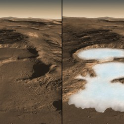 These three craters in the eastern Hellas region of Mars contain concealed glaciers detected by radar. On the left is how the surface looks today, on the right is an artist's concept showing what the ice may look like underneath. Credit: NASA/Caltech/JPL/UTA/UA/MSSS/ESA/DLR, Eric M. De Jong, Ali Safaeinili, Jason Craig, Mike Stetson, Koji Kuramura, John W. Holt.