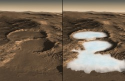 This computer graphic image shows three craters in the eastern Hellas region of Mars containing concealed glaciers detected by radar. On the left is how the surface looks today, on the right is an artist's concept showing what the ice may look like underneath. The image was created using image data from the Context Camera on the Mars Reconnaissance Orbiter (MRO) spacecraft combined with results from the SHARAD radar sounder on MRO and HRSC digital elevation map from the Mars Express spacecraft. The color of the Martian surface and ice was estimated from MRO HiRISE color images of other Martian craters and the polar ice caps. The buried ice in these craters as measured by SHARAD is ~ 250 meter thick on the upper crater and ~ 300 and 450 meters on the middle and lower levels respectively. Each image is 20 km (12.8 mi.) across and extends to 50 km (32 mi) in the distance.  Recent measurements from the Mars Reconnaissance Orbiter SHARAD radar sounder have detected large amounts of water ice in such deposits over widespread areas, arguing for the flow of glacial-like structures on Mars in the relatively recent geologic past. This suggests that snow and ice accumulated on higher topography, flowed downhill and is now protected from sublimation by a layer of rock debris and dust. Furrows and ridges on the surface were caused by deforming ice.  Caption Credit: NASA/Caltech/JPL/UTA/UA/MSSS/ESA/DLR Eric M. De Jong, Ali Safaeinili, Jason Craig, Mike Stetson, Koji Kuramura, John W. Holt