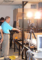 Martin Jackson being interviewed in the Applied Geodynamics Laboratory for the Faces of Earth t.v. series.