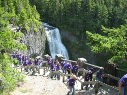 Students hike past Oregon's Salt Creek Falls in 2007.