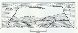 East-West cross-section of the sediment layers within the cave